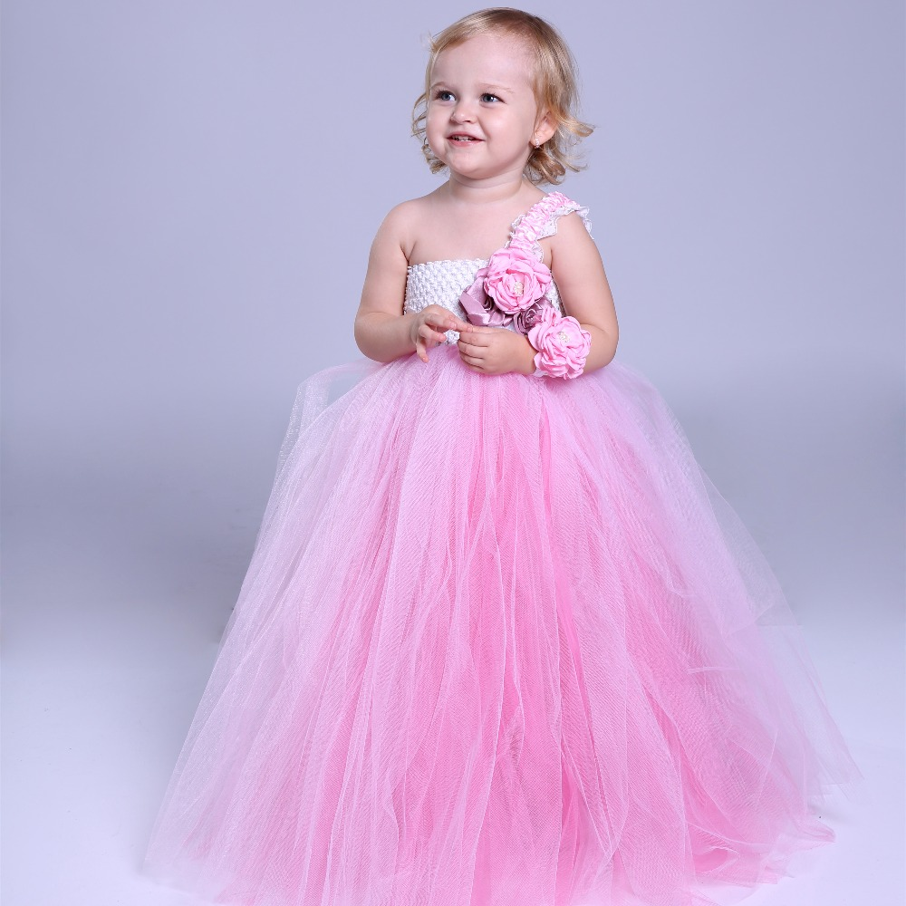 Flower girl dresses girls clothes 2018 off shoulder pink lace high waist christmas baby birthday party princess tutu dress 4pcs baby girl clothes swan infant clothing princess tutu dress party baby christmas outfits clothes birthday costumes vestido