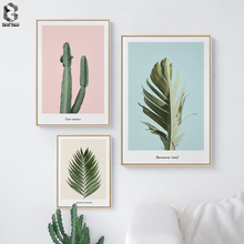 Nordic Canvas Prints and Posters Wall Art Fresh Plant Pictures Cactus for Home Decoration, Modern Paintings Leaf Decor