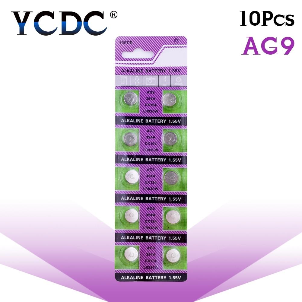 10pcs/pack AG9 LR936 394 Button Batteries SR936 194 Cell Coin Alkaline Battery 1.55V SR936SW CX194 For Watch Toys Remote