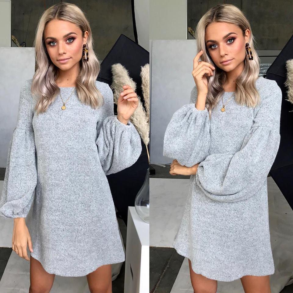 2018 Autumn Winter Elegant warm puff sleeve dress women O neck autumn winter sweater dress Solid knitting dresses vestidos