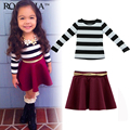 baby girls clothes set 2016 Girl Kids Fashion Black White Striped T-Shirt + Skirt Maroon Suit lowest price vetement fille