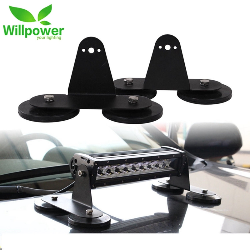 1 pair Punching-free Powerful Mount Bracket Holder with Strong Magnetic Base Roof LED Work Light Bar Bracket for Offroad Car