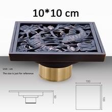 Рыба дизайн твердой латуни площади трапных искусство резные душ первый крылом, Фильтр истощает масло втирают бронзовый отделка