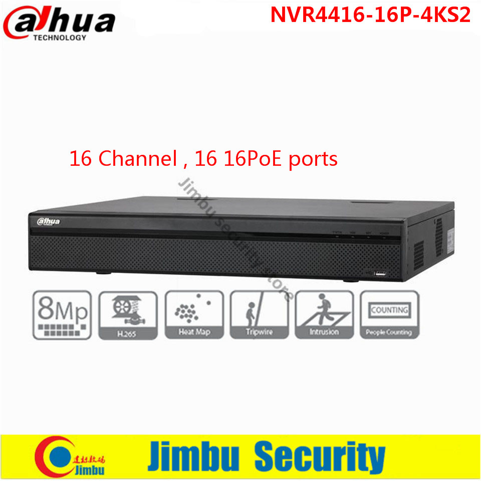 Original DAHUA 16 Channel 1.5U 16PoE 4K&H.265 Lite Network Video Recorder Support IPC UPnP, 16PoE ports NVR4416-16P-4KS2