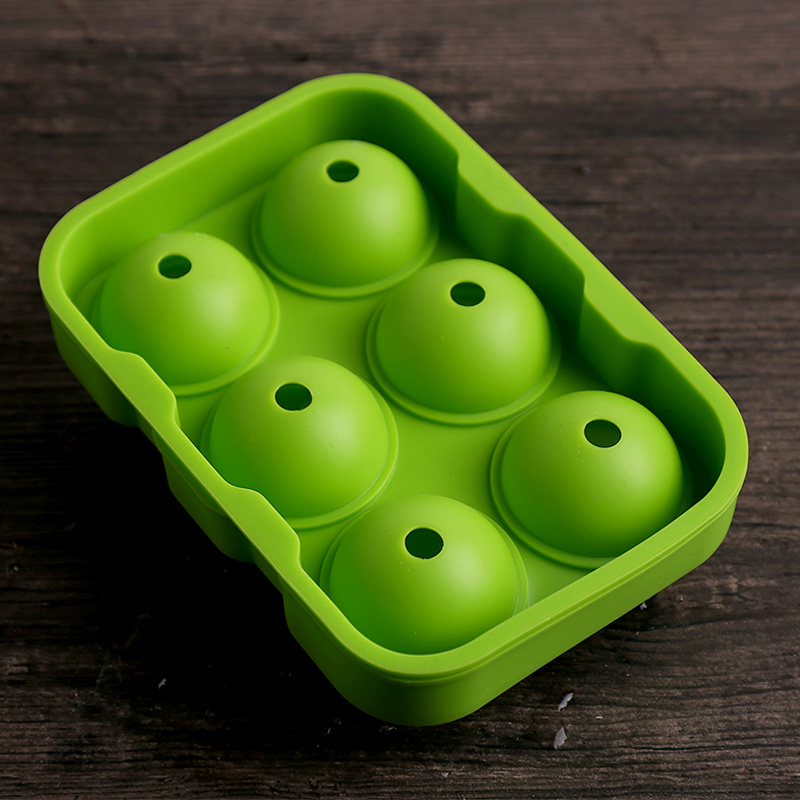 Large Round Ice Ball Maker 6 Holes Silicone Ice Cube Tray Mold Bar Party Whiskey Ice Mold Silicone Sphere shaped Ice Cube Maker (3)