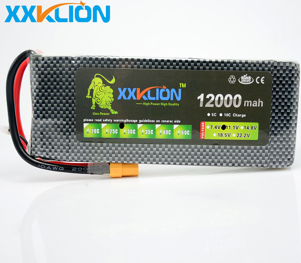 XXKLION drone Lipo battery pack 11.1v 12000mAh 30C 3S for rc airplane Aerial multi - axis unmanned aerial vehicle Free Shipping 3 6v 2400mah rechargeable battery pack for psp 3000 2000