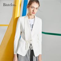 2019 Spring solid color long sleeve Blazers women fashion tassel slim notched collar coats