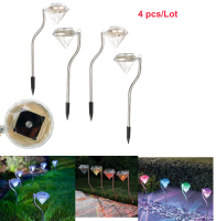 Popular 4pcs Diamond Shape Solar Power panel Garden Stake Light waterproof Lawn Light Path light