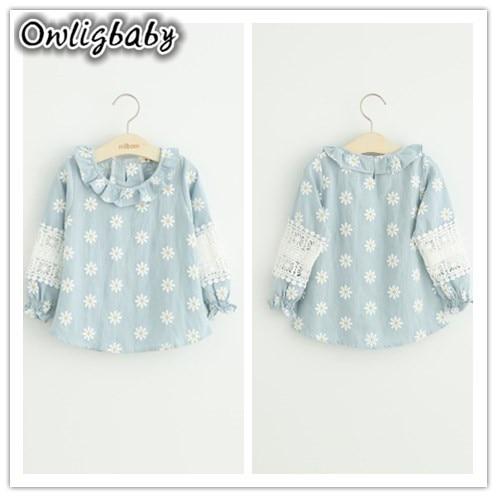 Owligbaby Vêtements Pour Enfants Nouveau 2017 Printemps Automne Enfants Filles Coton Dentelle Manches Imprimer Blouse filles Chemises