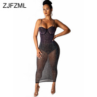 Mesh Rhinestones Sexy Bodycon Dress Women Spaghetti Strap Sleeveless See Through Dress Summer Backless Bandage Club Party Dress