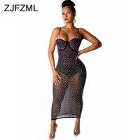Mesh Rhinestones Sexy Bodycon Dress Women Spaghetti Strap Sleeveless See Through Dress Summer Backless Bandage Club Party Dress
