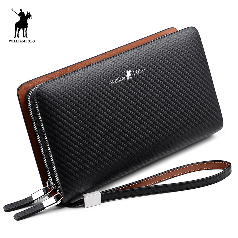 WilliamPOLO 2018 Fashion New Arrival 100% Cow Leather Business Solid Zipper Long Mens Clutch Wallet Handbag Wallet POLO170