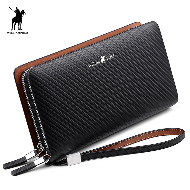 WilliamPOLO 2019 Fashion New Arrival 100% Cow Leather Business Solid Zipper Long  Mens Clutch Wallet Handbag Wallet PL170