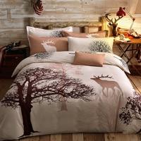 Papa Mima Fresh Style Trees Deer Bedlinens High Quality Sanding Cotton Fabric Queen King Size Duvet