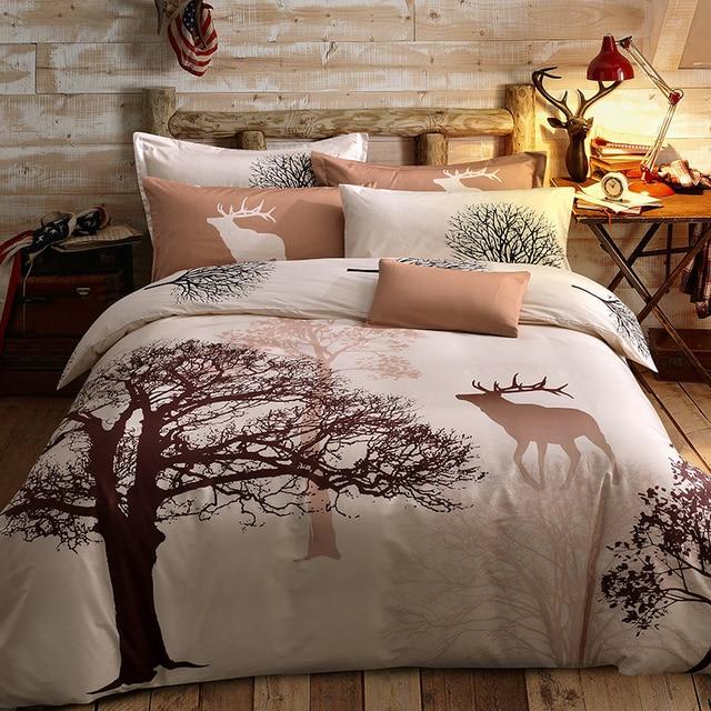 Папа и мима свежий стиль деревья олень bedlinens высокое качество шлифования хлопок ткань Queen/King Size постельное белье постельные принадлежности Комплект