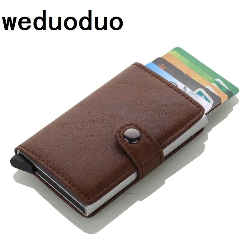 Bisi goro 2018 business credit card holder hommes et femmes mtal 2018 new crazy horse pu leather credit card holder men business card holder metal rfid card colourmoves