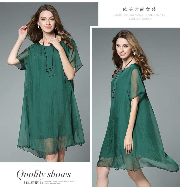 57b566b7bd866 New arrival 2017 Summer women elegant silk chiffon dress Plus Size loose  fit one-piece dress female casual vestidos XXXXL 6523