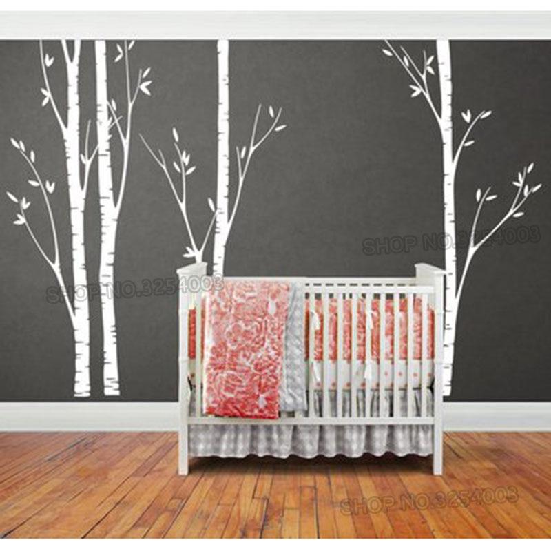 Énorme bouleau arbre mur autocollant vinyle pépinière décor mur Art autocollants faciles à poser pour enfants bébé chambres stickers muraux arbre Branches décor L918 - 3