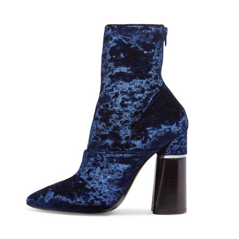 b8b4614310 Pointy Toe Plush Back Zip Square Heel Ankle Boots Blue Flock Velvet Short  Boots Luxury Shoes