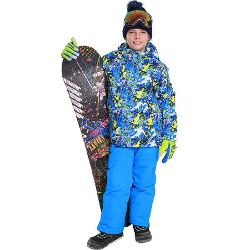2018 Boys Ski Suit Winter Waterproof Windproof Snow Sets Kids Warm Ski Jacket+pant Children Outdoor Hooded Snowboard Sports Suit woman snow jacket outdoor sports ski suit set waterproof windproof 30 warm snowboarding jacket pant ski suit set winter coat