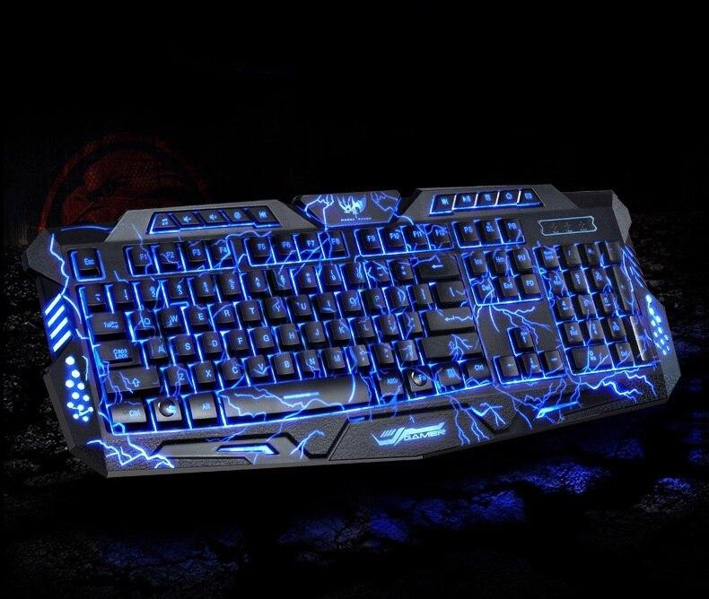 M200 rojo/púrpura/azul retroiluminación LED Pro Gaming teclado USB con cable n-key completo para LOL computer gamer