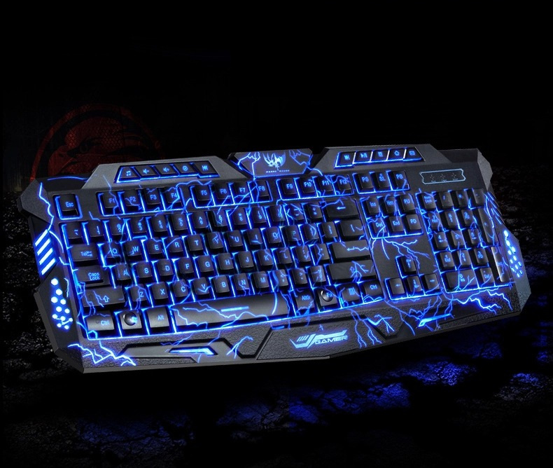 M200 Red/Purple/Blue Backlight LED Pro Gaming Keyboard USB Wired Powered Full N Key for LOL Computer gamer