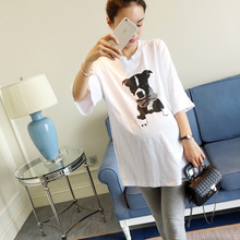 Maternity wear Summer Short Sleeved T-shirt for Pregnant Women Large Code Loose Printed Cotton White T-S