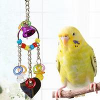 Kreatywny piękny gorący bubel zabawka dla zwierząt domowych grać akrylowe zabawki do żucia papuga ptak kolorowe dzwon łańcuch z lustro ptak akcesoria do ptaki