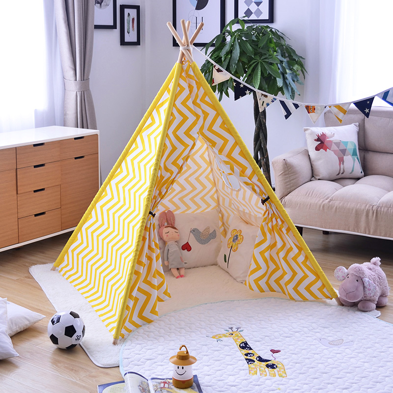 Yellow Chevron Childrens Indian Teepee Kids Tipi Tent rubin childrens friendships cloth