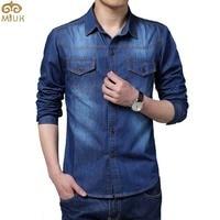 Big Size Men Shirt Denim Large Size 5XL Cotton Turn Down Collar Pockets Men Shirts 2015