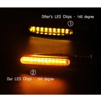 אופנוע הפעל אותות אור 12 * 335SMD זנב נצנץ LED זורם מים DRL נצנץ IP68 Bendable להפסיק אותות מהבהב אורות