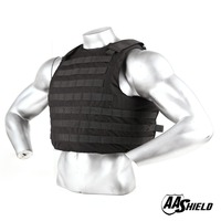 AA SHIELD Bullet Proof Vest Aramid Core Ballistic Body Armor Insert Vest Self Defense Supply Level NIJ IIIA Black S/M