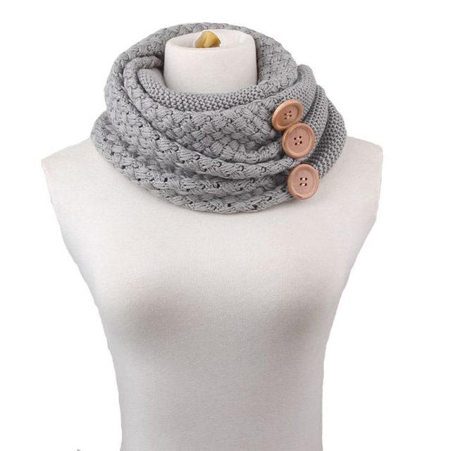 Online Shop Winter Warm Knit Infinity Scarf Brand Luxury Women Solid ...