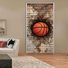 Sports Item Basketball Door Stickers Creative Home Decor Kitchen Fridge Decor Stickers PVC Self Adhesive Door Sticker Mural Door(China)