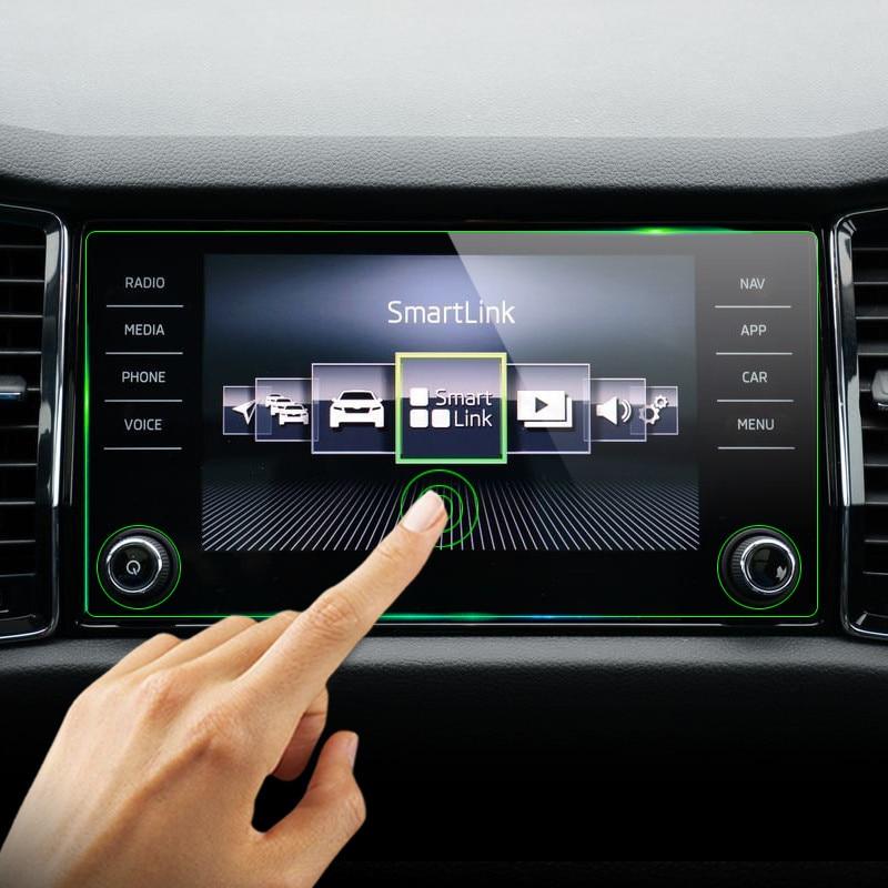 8 navegación GPS pulgadas pantalla acero película protectora para Skoda Kodiaq Karoq 2017 2018 Control de la pantalla LCD etiqueta engomada del coche