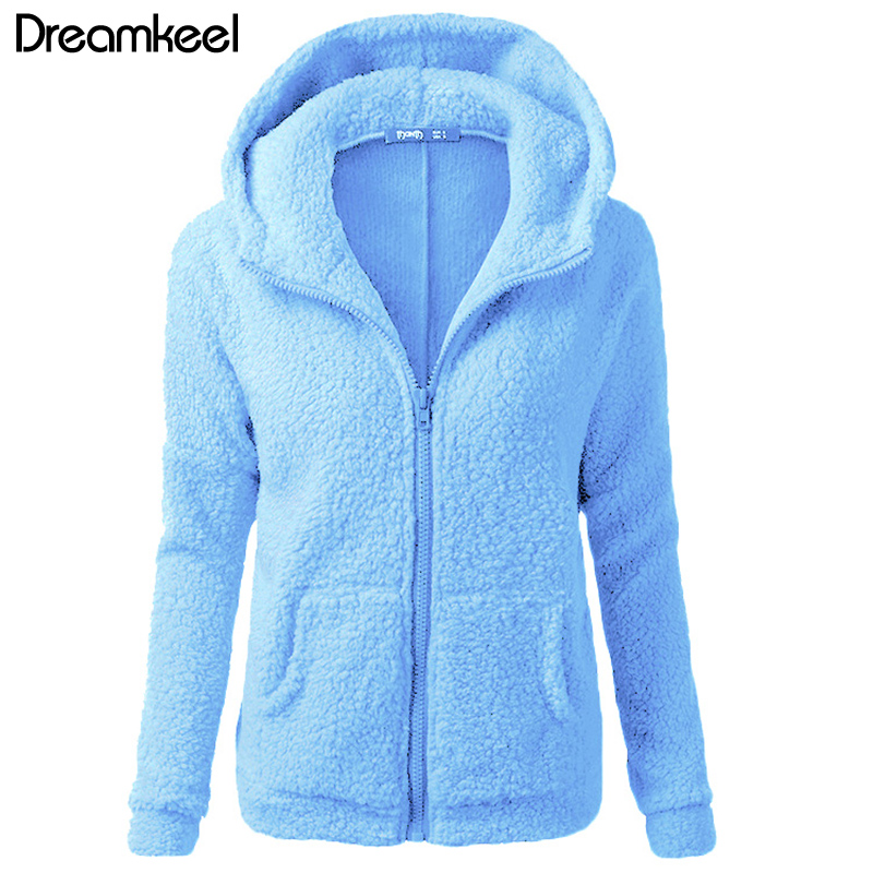 Solid Color Coat Women Thicken Soft Fleece Fashion Casual Outwear Coat Winter Autumn Warm Jacket Hooded Zipper Overcoat Female Y