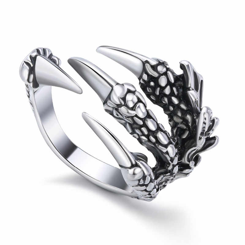 1Pc European Personality Dragon Paw Opening Ring For Men Women Ancient Silver Color Claw Finger Ring Creative Jewelry R192-7