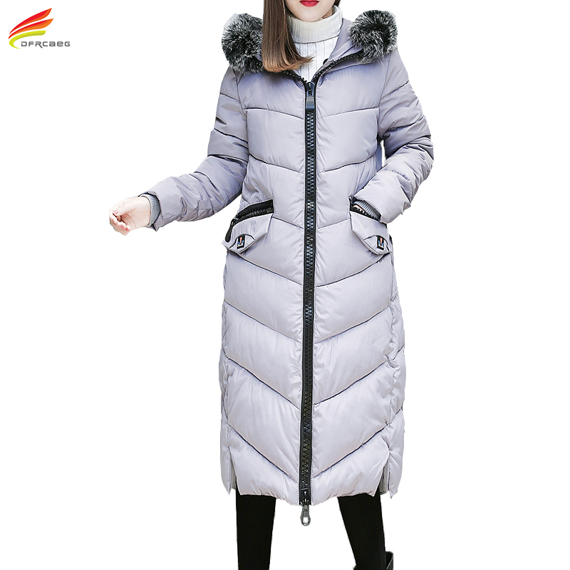 Plus Size Women Clothing 5XL Women Coat Jacket 2017 Winter New Arrival 6 Colors Long Parka With Fur Hooded Ladies Coats