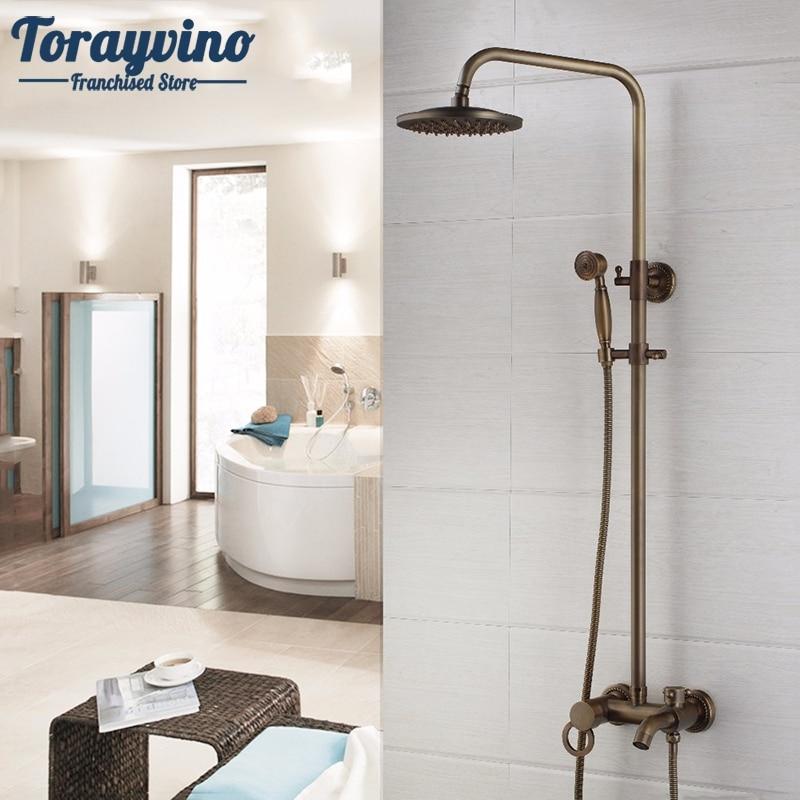 New Arrival Antique Brass Shower Faucet Set 8 Inch Shower Head Hand Shower Sprayer Wall Mounted Mixer Tap
