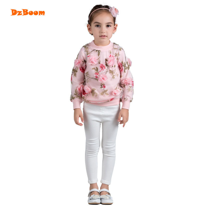 DzBoom 2017 Autumn Winter Floral Children's Sweatshirts New Embroidered Kids Girl Hoodies Long Sleeve Pink Girls Baby Sweatshirt