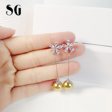 SG New Trendy 100% 925 Sterling Silver Gold Color ball &  Flower Long Drop earrings with CZ for 2019 Women  Fashion Jewelry цены онлайн