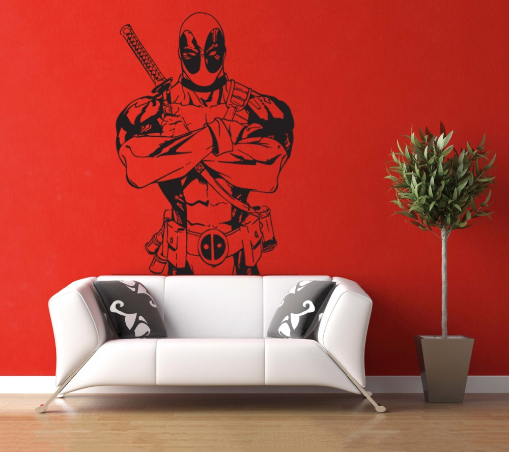 Deadpool vinyl art design wall mural stickers superhero marvel deadpool vinyl art design wall mural stickers superhero marvel pattern wall decals home bedroom art decor wall murals wm 3 in wall stickers from home amipublicfo Image collections