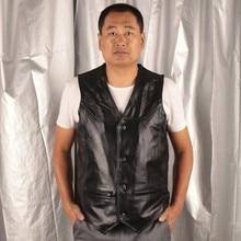 BONJEAN Mens Black Genuine Leather Vest Male Casual Cowhide Waistcoat Jacket Tank Top Moto Biker Vest High Quality