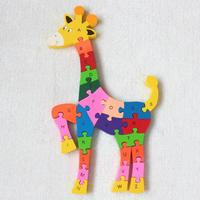 Deer Wooden Toy Cartoon Color 26 Piece English Letters Digital Cognitive Animal Wooden Jigsaw Puzzle Free