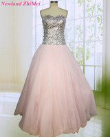 Sparkling Light Pink Ball Gown Prom Dress Sexy Sweetheart Backless Beaded Sequin Tulle Evening Party Dresses