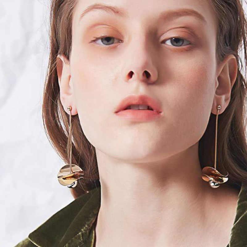 Kreative Gold Ton Ball Lange Baumeln Ohrringe Für Frauen 2019 Metall Stil Tropfen Ohrringe Schmuck Ohrringe Femme Bijoux Brincos