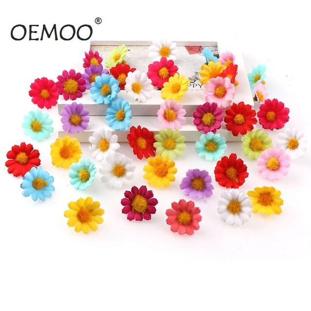 100PC/lot  2.5cm Mini Daisy Decorative Flower Artificial Silk Flowers Party Wedding Decoration Home Decor(without stem) Cheaper 2