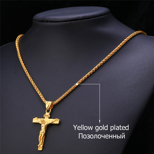 U7 Cross INRI Crucifix Jesus Piece Pendant & Necklace Stainless Steel Gold Plated Men Chain Christian Jewelry Gifts Vintage P624