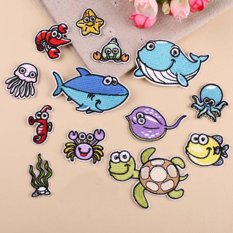 DOUBLEHEE Size On Photo Sea Animal Patch Embroidered Patches For Clothing Iron On For Close Shoes Bags Badges Embroidery in Patches from Home Garden