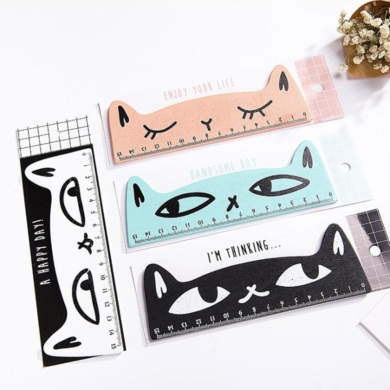 Wooden Material Colored Cats Shape Ruler Creative Office Stationery And School Supplies 15cm Length 1PCS/Set